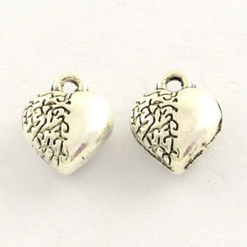 Heart Charms Antique Silver (pack of 5)